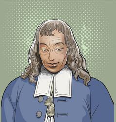 blaise pascal portrait in line art vector image