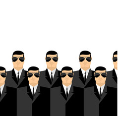 Bodyguards in dark suits and dark glasses secret vector