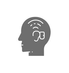 Bone anchored hearing aid baha gray icon vector