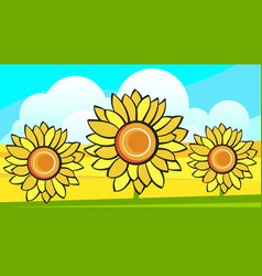 Border with sunflowers bouquet and wild flower vector