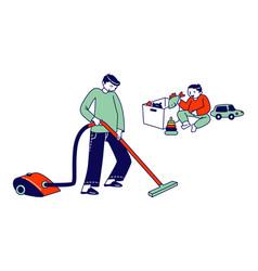 Boy character doing domestic work cleaning floor vector