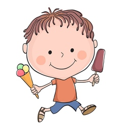 Boy ice cream vector