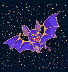 cartoon halloween vampire bat on starry night sky vector image