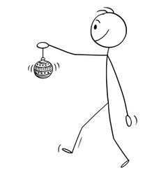 cartoon man walking and holding glass ball vector image