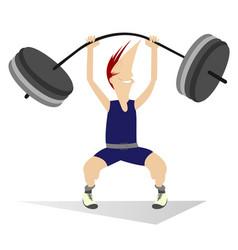 Cartoon man weightlifter isolated vector