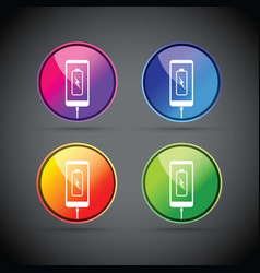 cell mobile phone battery charging colorful icons vector image