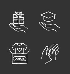 Charity chalk icons set vector