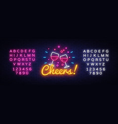 cheers neon sign wine party celebration vector image