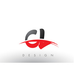Cl c l brush logo letters with red and black vector
