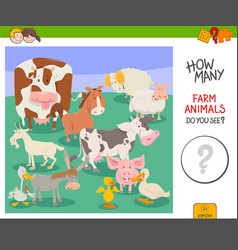 Count farm animals activity game vector