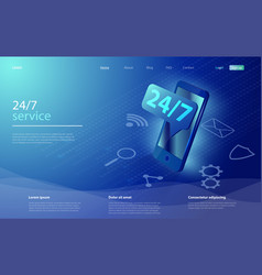 customer service landing page 24-7 service vector image