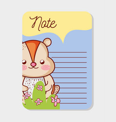 Cute animal paper notes vector