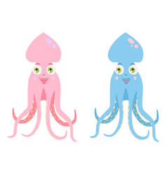 cute kid octopus in pink and blue colours vector image