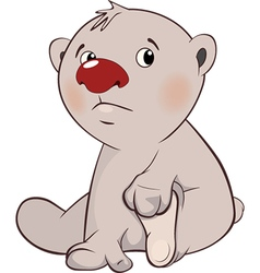 cute white polar bear cub cartoon vector image
