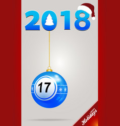 decorated bingo ball and date with santa hat vector image