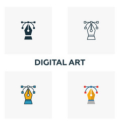 digital art icon set four elements in diferent vector image