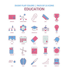 education icon dusky flat color - vintage 25 icon vector image
