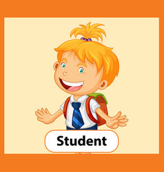Educational english word card student vector