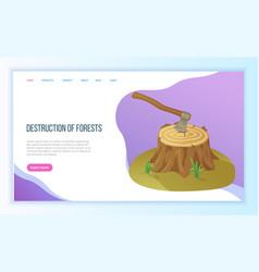 Environmental problem deforestation and ax vector