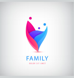 Family with kid 3 people group logo vector