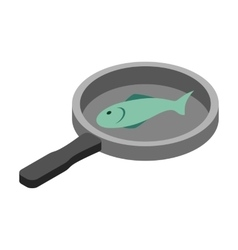 Fish in the pan 3d isometric icon vector image vector image