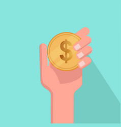 flat hand holding coin with blue background vector image