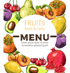 Fresh and tasty fruits menu template with place vector