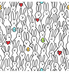 funny bunny seamless pattern of cute vector image