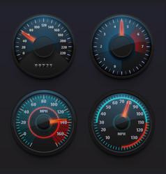 Futuristic car speedometers speed indicators vector