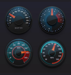 Futuristic car speedometers speed indicators with vector
