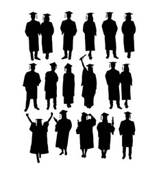 Graduation activity silhouettes vector