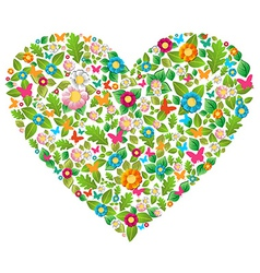 Green floral spring love vector image
