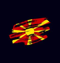 Grunge textured macedonian flag vector