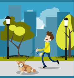 guy on a walk with a dog vector image