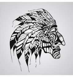 Hand drawn tattoo native american indian chief vector