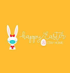 Happy easter quarantine at home vector
