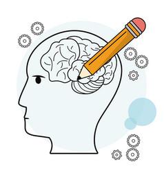 Head profile human brain pencil outline vector
