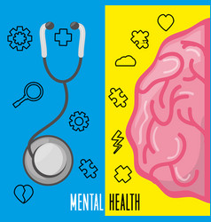 Healthy brain with stethoscope treatment vector