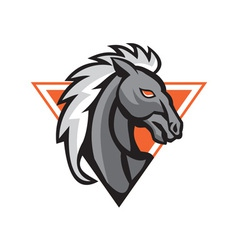 Horse Head Side Retro vector