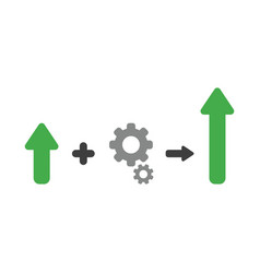 icon concept of arrow plus gears and moving up vector image