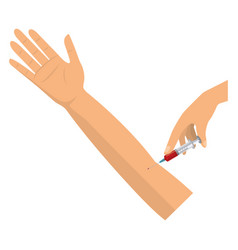 Isolated blood injection and hand design vector