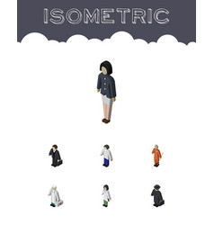 isometric human set of doctor detective girl and vector image