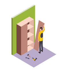 Isometric worker home repair isometric form with vector