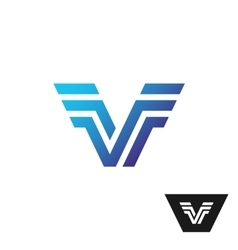 Letter V tech logo with wings vector image