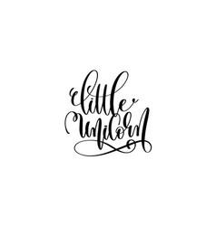 Little unicorn - black and white handwritten vector