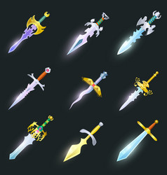 Magic swords isolated set vector