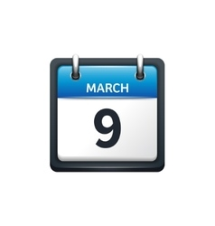 March 9 Calendar icon flat vector image