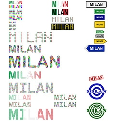 Milan text design set vector