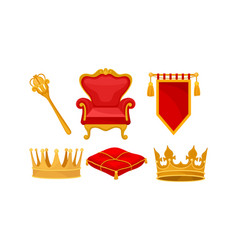 Monarchy attributes set golden power vector