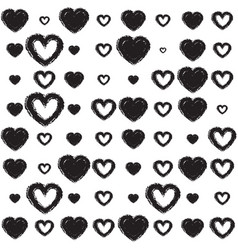 monochrome background with hearts vector image